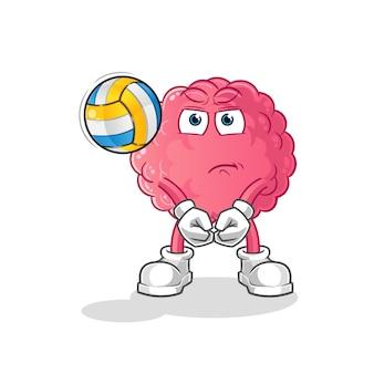 Mascotte de volley-ball de jeu de cerveau. dessin animé