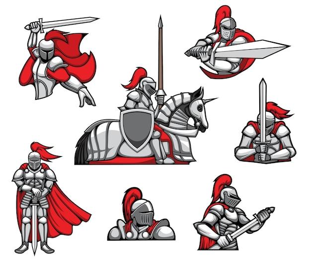 Mascottes de guerriers chevaliers médiévaux, cape rouge et casque