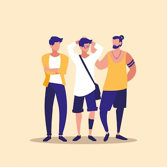 Masculin groupe professionnel de personnages modèles