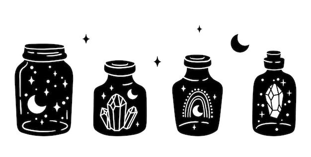 Mason jar clipart bundle pot magique céleste bouteilles en verre noir et blanc articles isolés