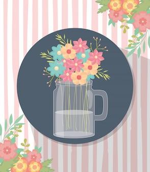 Mason pot fleurs décoration coin rayures fond ombre