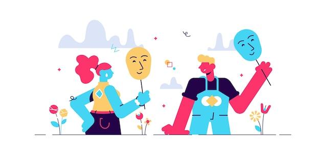 Masquage du concept de vrais sentiments, illustration de couple de personnes minuscules plates. expressions de visage dans la communication relationnelle. fausse identité sociale et dissimulation des traits de personnalité intérieurs. mascarade humaine.