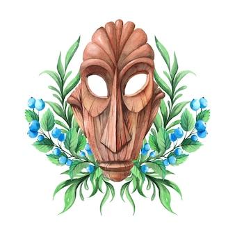 Masque africain en bois décoré de fleurs.