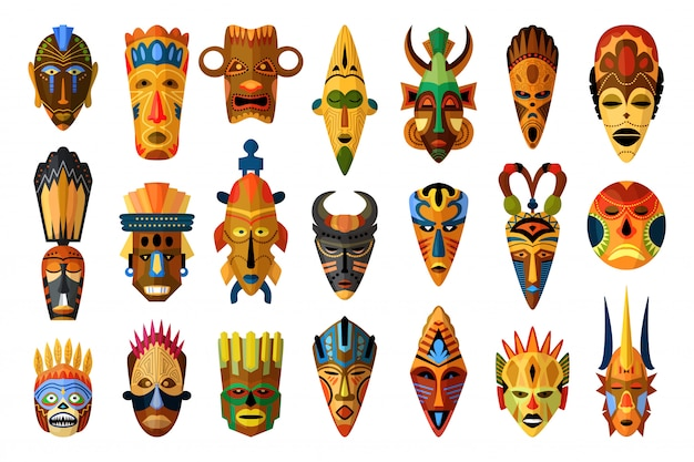 Masque africain. masque facial africain de vecteur.