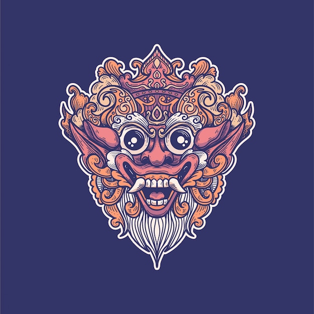 Masque barong art design illustration traditionnelle