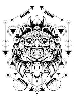 Masque barong à la géométrie sacrée balinaise