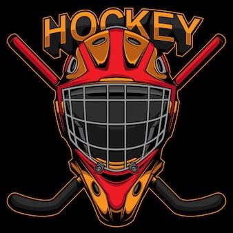 Masque et bâton de hockey