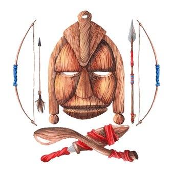 Masque en bois africain avec une arme à feu.