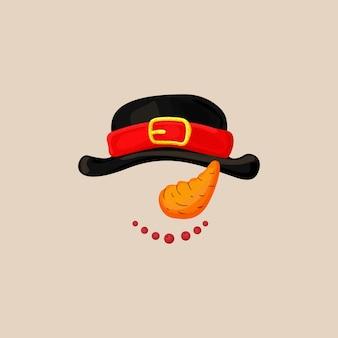Masque de cabine de photo de noël avec chapeau de bonhomme de neige, carotte comme nez et sourire avec des baies. éléments de photomaton bonhomme de neige