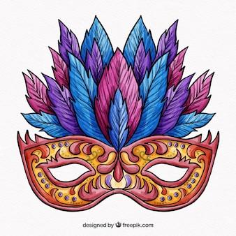 Masque de carnaval coloré avec des plumes