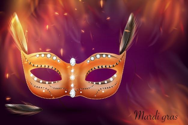 Masque de carnaval doré, mascarade, mardi gras. conception de lettrage scintillant de carnaval, invitation de carnaval.