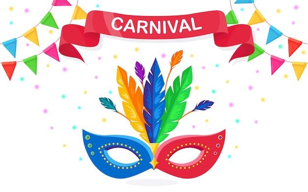 Masque de carnaval avec des plumes isolé sur blanc