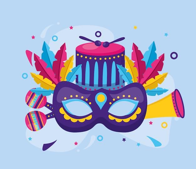 Masque de carnaval plumes tambour
