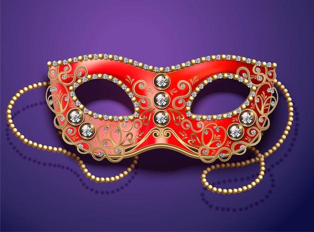 Masque de carnaval rouge avec diamants et perles dans un style 3d sur violet