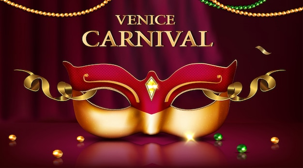 Masque de carnaval de venise avec diamants et éléments dorés