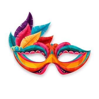 Masque de carnaval vénitien 2d coloré isolé sur fond blanc