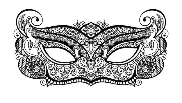 Masque de carnaval vénitien lineart noir silhouette