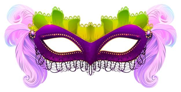 Masque de carnaval violet avec plumes