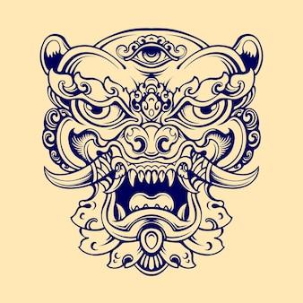 Masque de chien foo japonais