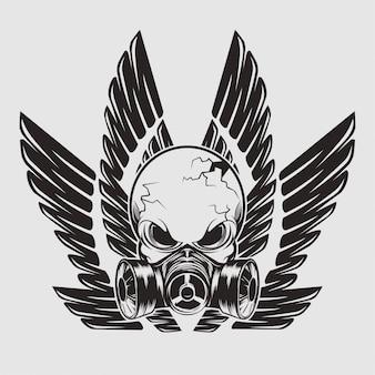 Masque de crâne avec des ailes