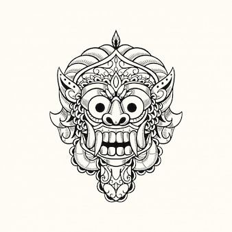 Masque de démon bali indonésie tshirt design illustration