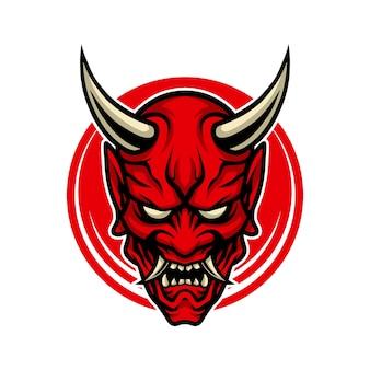 Masque de démon de dessin animé icône hannya.