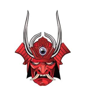 Masque de démon guerrier samouraï avec cornes
