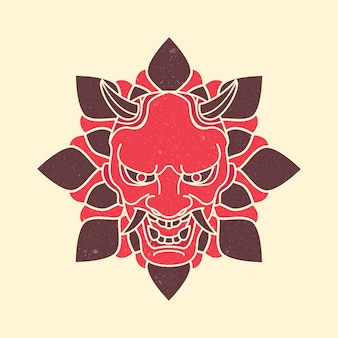 Masque démon japonais vintage