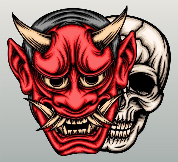 Masque de démon oni avec tête de crâne.