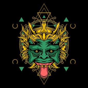 Masque de démon vert à géométrie sacrée