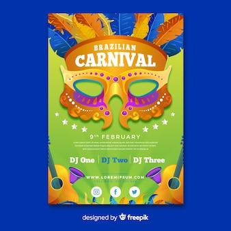 Masque doré affiche du parti de carnaval brésilien