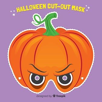 Masque effrayant d'halloween au design plat