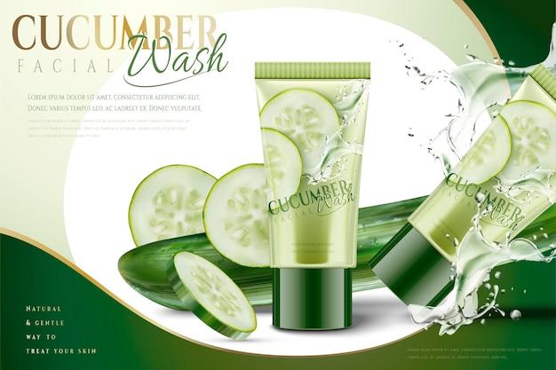 Masque facial au concombre avec éclaboussures d'eau et ingrédients