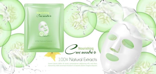 Masque facial au concombre avec éclaboussures d'eau.