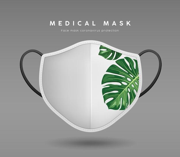 Masque facial couleur blanche avec modèle de maquette de conception réaliste de feuille de monstera sur fond gris