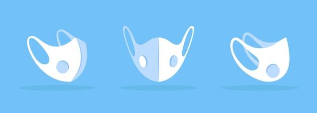 Masque facial avec maquette blanche d'aération respirante