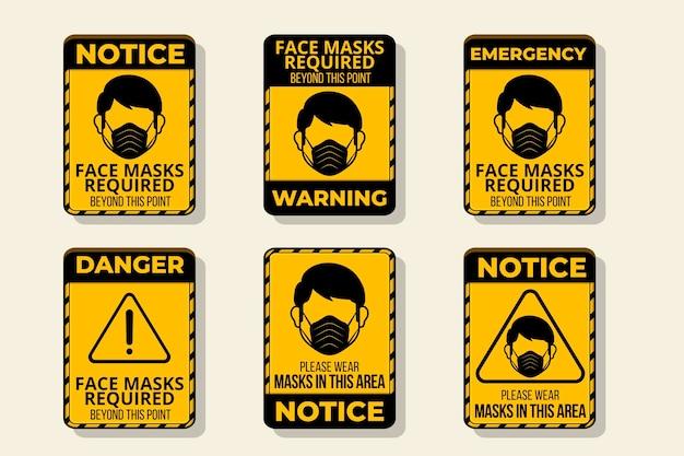 Masque facial requis - collection de panneaux