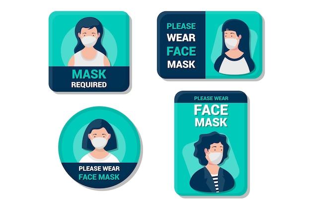 Masque facial requis collection de signes