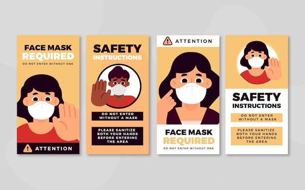 Masque facial requis modèle d'histoires instagram