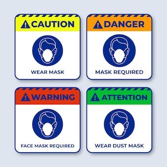 Masque facial requis pack de signes