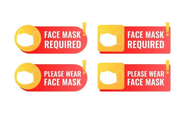 Masque facial requis signe avec forme de rectangle arrondi et point d'exclamation