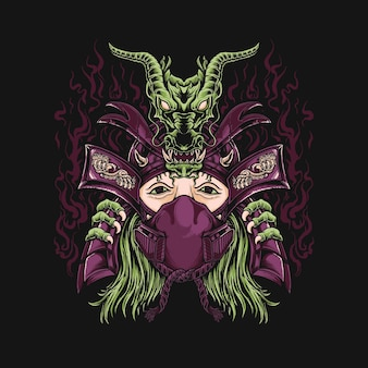 Masque femme ronin samouraï avec tête de dragon vert