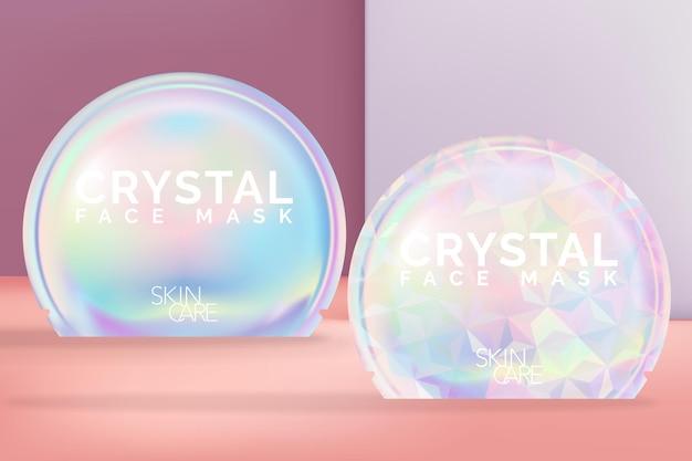 Masque en feuille paquet de sac en aluminium holographique ou irisé avec impression de motifs géométriques. forme ronde.