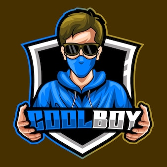 Masque de garçon cool, illustration vectorielle de mascotte esports logo