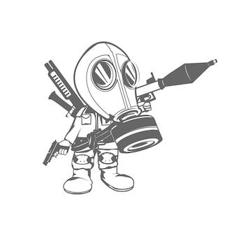 Masque à gaz avec des armes à feu couteau à canon, caricature de personnage