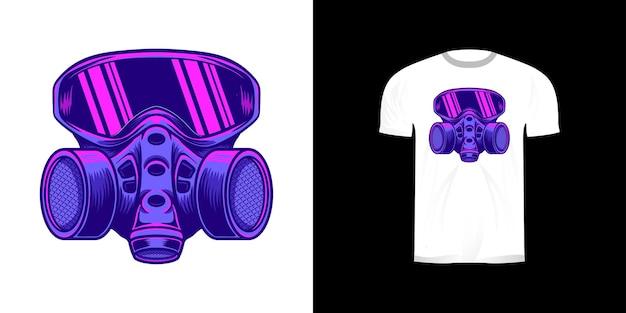 Masque à gaz néon design rétro pour tshirt