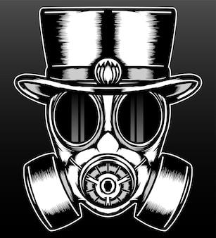 Masque à gaz vintage avec chapeau isolé sur fond noir