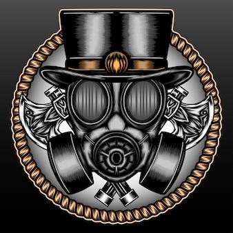 Masque à gaz vintage avec hache isolée sur fond noir