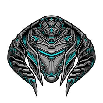Masque guerrier robot bleu