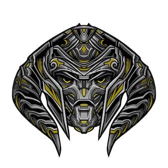 Masque guerrier robot jaune